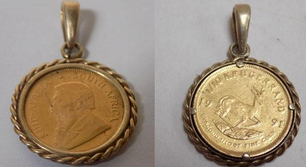 1/10 Krugerrand in 9ct Gold pendant