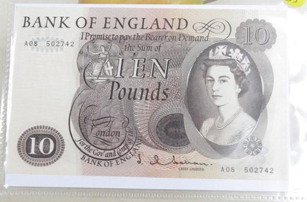 Old Vintage brown Ten pound note No A08 502742