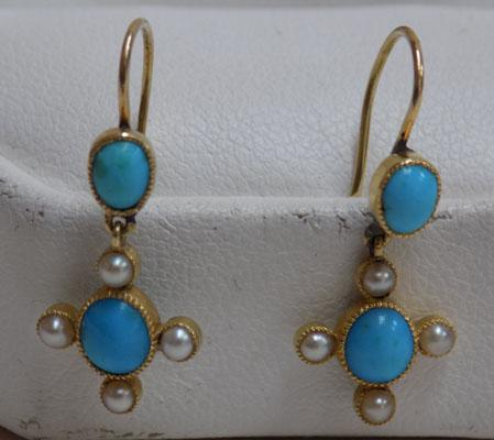 Old pair of 9ct gold turquoise & seed pearl earrings