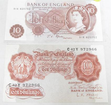 2 Types of old Ten shilling notes No's C42Y972966/91R620752