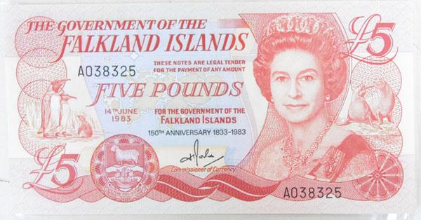 150th Anniversary 1833-1983 Falkland Islands five pound note