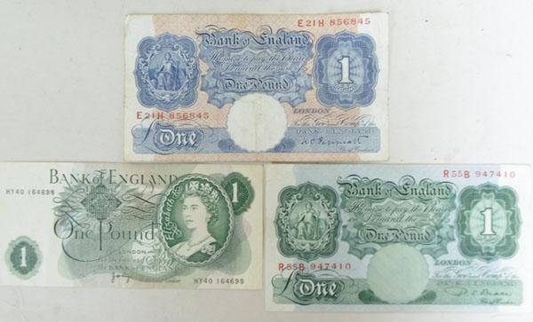 3 Types of Old one pound note