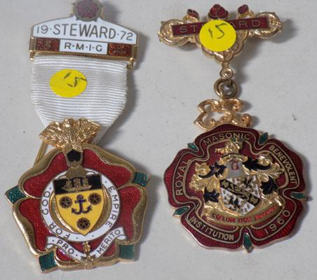 A pair of gilt & enamel masonic medals
