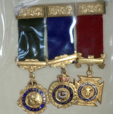 Trio of gold plated medals