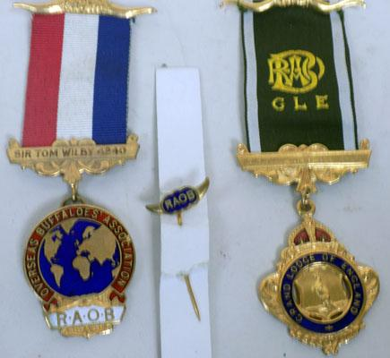 9ct gold plated 2 base medals RAOB & Stick Pin