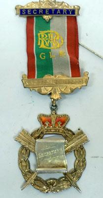 9CT Gold Plated Silver RAOB Secretary Medal