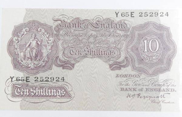 Old ten Shilling note in near mint condition