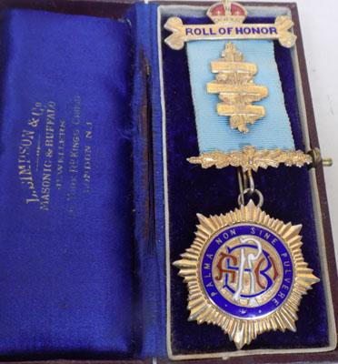 9CT Gold Plated Silver RAOB Roll of honour Medal