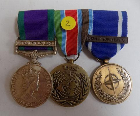 Medal trio with repro campaign service medal