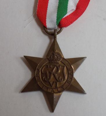 WWII British Army Italy star medal