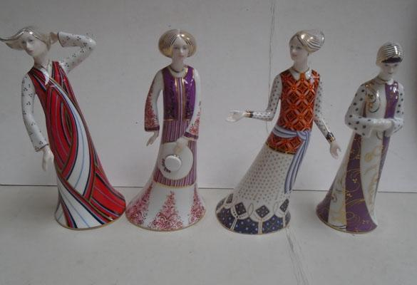 Crown Derby Classic Ladies collection-Penelope (perfect)-Persephane (perfect)-Athena (fleabite to base)- Dione (right thumb repaired)