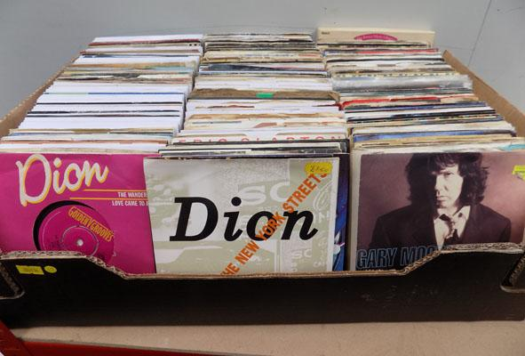 Large box of singles records