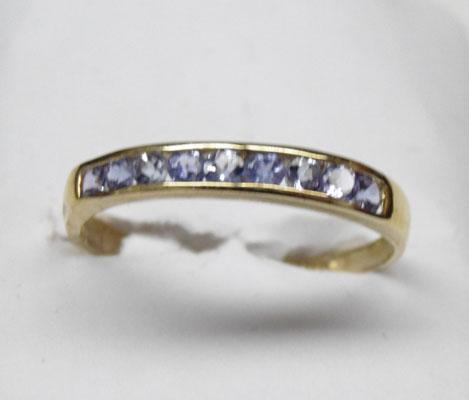 9ct Gold Tanzanite half eternity ring size O
