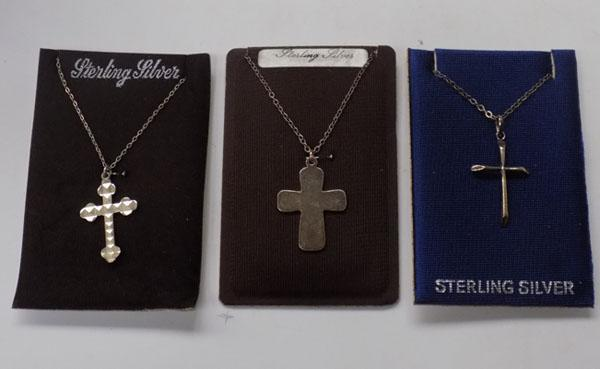 3x sterling silver cross necklaces