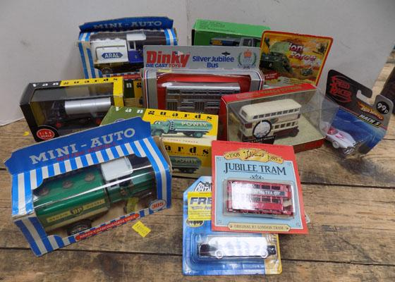 Box of assorted die-cast trucks, incl. Vanguard, Dinky & Matchbox
