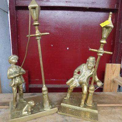 "2x vintage brass figurines, incl. ""The Drunk"""