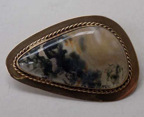 9ct gold large stone brooch - Birmingham J.H.L