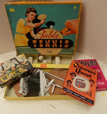 1930's Palitoy table tennis set & others