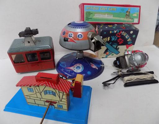Box of tin plate toys