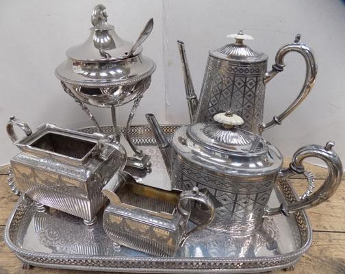 Silver plated tea pot, coffee pot set on tray