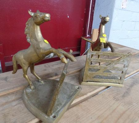 Vintage brass horse bookends