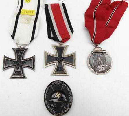 Collection of WW1 & WW2 medals, maybe reproduction iron cross