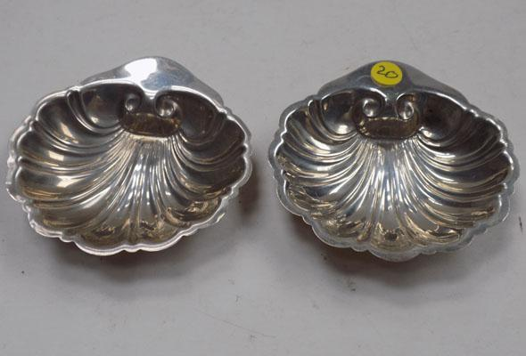 Pair of white metal shell dishes - hallmarked sterling