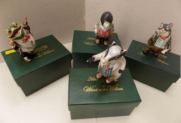 4 Wind in the Willows character trinket boxes with character pin badges
