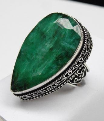 Silver 925 stamped large Emerald tear drop ring size P