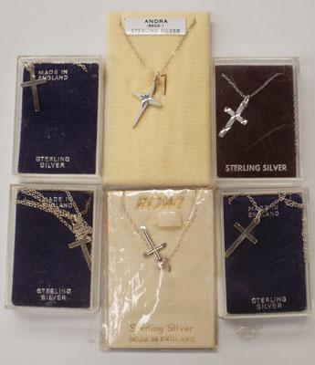 6x sterling silver cross necklaces
