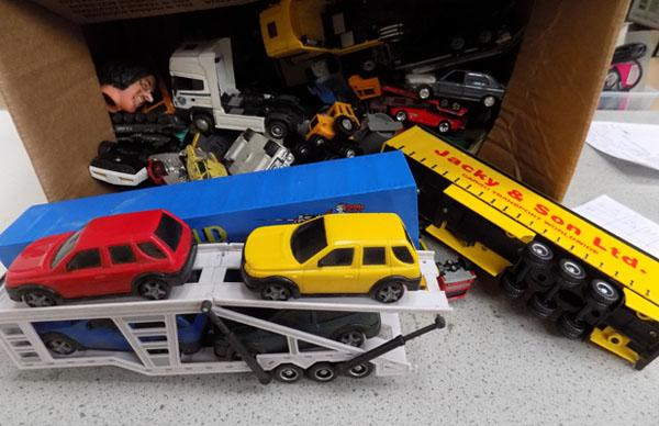 Box of assorted die cast