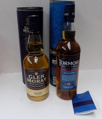 2x Bottles of collectable Whisky, Tormore & Glen Moray