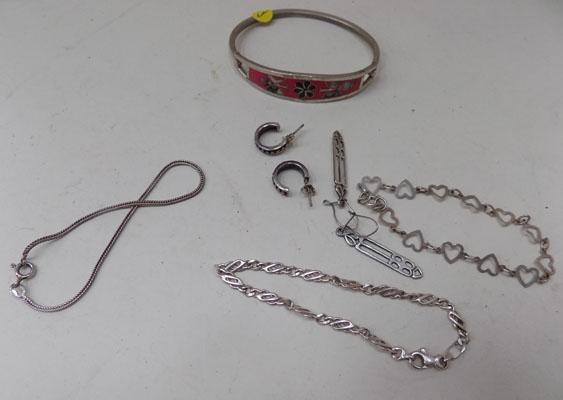 4 silver bracelets + 2 pairs of earrings