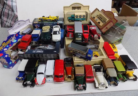 Crate of die cast cars-some boxed