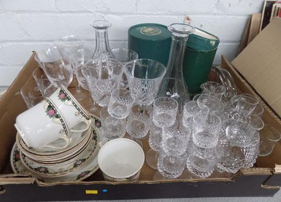 Box of crystal glassware,  Royal Staffordshire part teaset