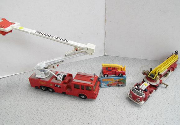 2 Corgi fire engines, 1 Matchbox - Simon Snorkel