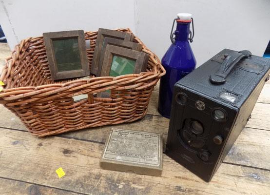 Boxed Ensign camera with slide holders & enamel bottle