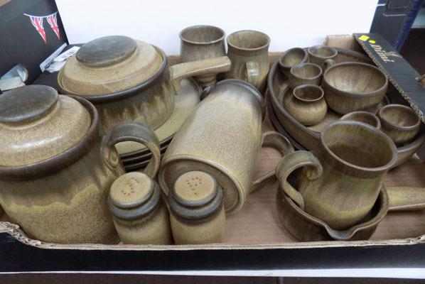 Box of Denby ware pottery