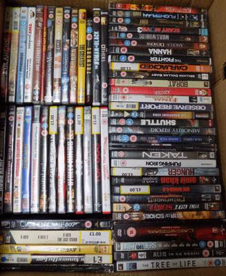Large box of DVDs and DVD box sets