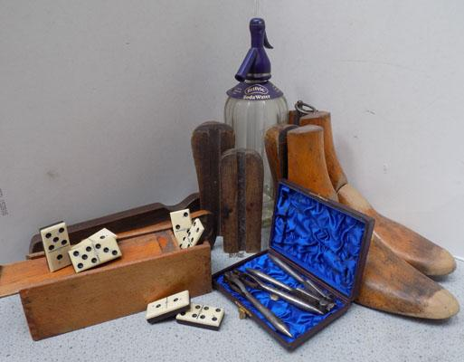 Box of vintage collectables, incl. boot stretchers