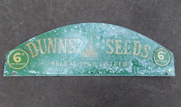 Vintage Dunnes seeds advertising sign