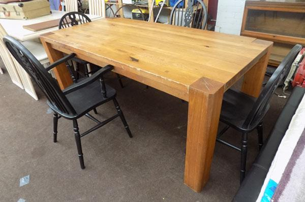 Solid heavy wood table & 4 chairs