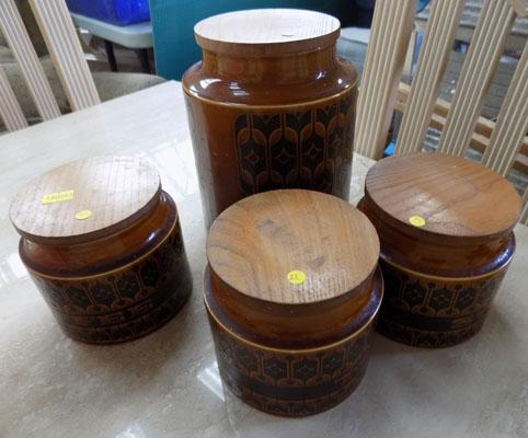 Selection of Hornsea storage jars, (tea, coffee, sugar & flour)