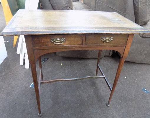 Leather top hall table