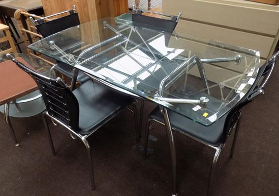 Glass topped dining table & 4 chairs