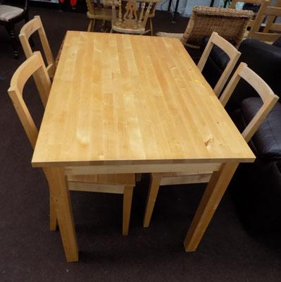 Solid wood table & 4 matching chairs
