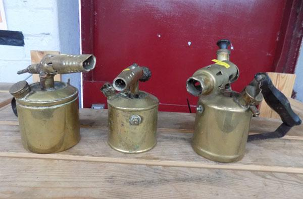 3x brass vintage blow torches