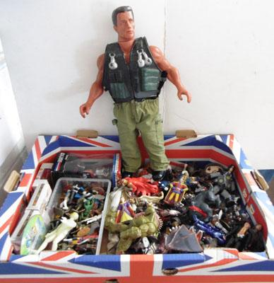 Box of Action Man figures inc large Arnie
