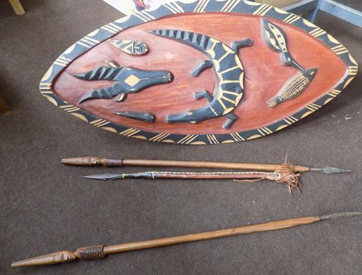 African shield & 3 spears