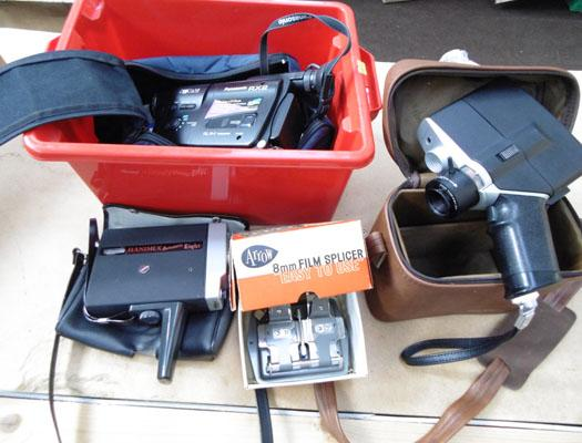 Box of cine cameras & splicer